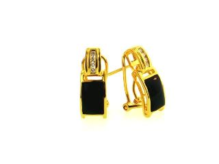 18KY Black Coral Earrings with Diamonds