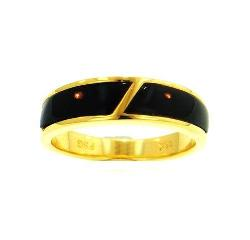 18KY Black Coral Ring