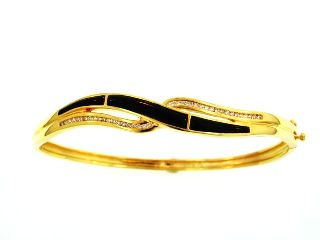 18KY Black Coral Bangle with Diamonds