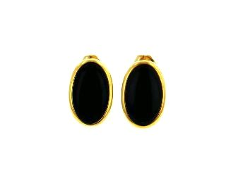 18KY Black Coral Earrings